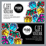 Vector gift voucher template with gift box patches and stickers. Christmas or New Year holidays cards in 80s, 90s comic style. Design concept for gift coupon royalty free illustration