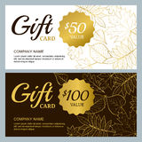 Vector gift voucher template with golden outline fall leaves. Gold, black and white autumn holidays cards. Stock Photos