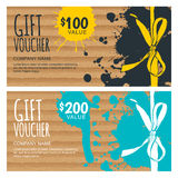 Vector gift voucher template. Hand drawn bow ribbon Stock Image