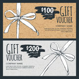 Vector gift voucher template with hand drawn bow ribbon and craft paper texture. Stock Photos