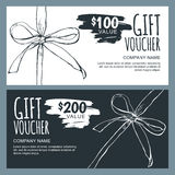Vector gift voucher template with hand drawn outline bow ribbons. Stock Photo