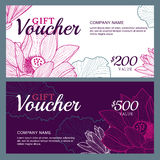 Vector gift voucher template with lotus, lily flowers. Stock Photo