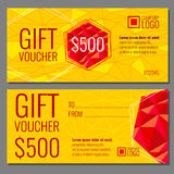 Vector gift voucher template with modern colorful polygonal pattern vector illustration