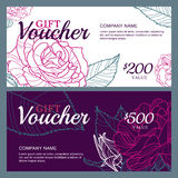 Vector gift voucher template with pink roses flowers. Business floral card template. Stock Image