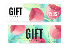 Vector gift voucher template with tulip flowers. Business floral card. Royalty Free Stock Photos