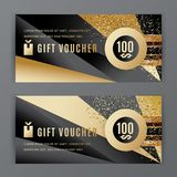 Vector gift voucher template. Universal flyer black gold design elements. Gift voucher value 100 dollars for department. Stores, business. Abstract trianlge Stock Illustration