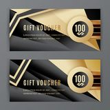 Vector gift voucher template. Universal flyer black gold design elements. Gift voucher value 100 dollars for department. Stores, business. Abstract trianlge Vector Illustration