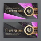 Vector gift voucher template. Universal flyer black pink gold design elements. Gift voucher value 100 dollars for. Vector gift voucher template. Universal flyer vector illustration