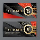 Vector gift voucher template. Universal flyer black red design elements. Gift voucher value 100 dollars for department. Stores, business. Abstract trianlge Vector Illustration