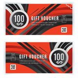Vector gift voucher template. Universal flyer black red design elements. Gift voucher value 100 dollars for department. Stores, business. Abstract geometric Stock Illustration