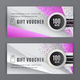 Vector gift voucher template. Universal flyer grey pink design elements. Gift voucher value 100 dollars for department. Stores, business. Abstract trianlge Vector Illustration