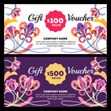 Vector gift voucher with tropic flowers. Royalty Free Stock Image