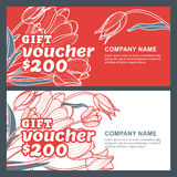 Vector gift voucher with tulip flowers. Business floral card template. Abstract red and white background. Royalty Free Stock Photos