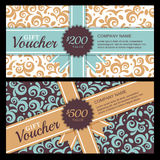 Vector gift voucher with vintage ornament background and ribbon. Royalty Free Stock Photo