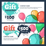 Vector gift voucher with watercolor air balloons. Stock Photo