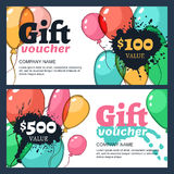 Vector gift voucher with watercolor air balloons. Stock Photos