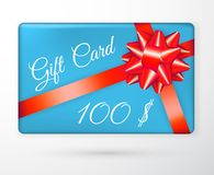 Vector gift vouchers with bow red ribbons, and blue backgrounds. Creative holiday cards or banners. Design concept for gift coupon royalty free illustration
