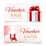 Vector gift vouchers with gift boxes Stock Image