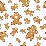 Vector ginger cookie seamless pattern. On polka dot background Stock Photography