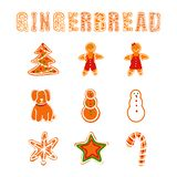 Vector Gingerbread Collection, Cookies Letters and Different Shapes. royalty free illustration