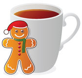 vector gingerbread cookie and a cup of tea Royalty Free Stock Photography