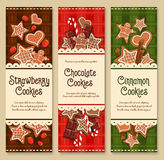 Vector gingerbread cookies and biscuits banners Royalty Free Stock Images