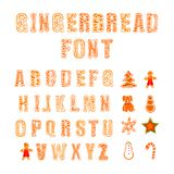 Vector Gingerbread Font, Doodle Hand Drawn Cookies and Letters Set. royalty free illustration
