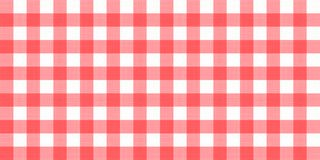 Vector gingham striped checkered blanket tablecloth. Seamless white red table cloth napkin pattern background with natural textile