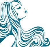 Vector girl. Beautiful woman with long hair Stock Image
