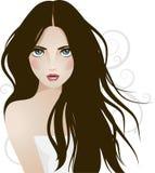 Vector girl. Beautiful girl with long hair Royalty Free Stock Photos