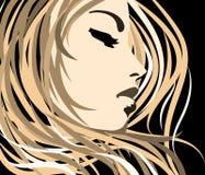 Vector  girl. Vector portrait girl in pop-art style Royalty Free Stock Photo