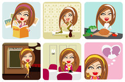 Vector girl activity Royalty Free Stock Photos