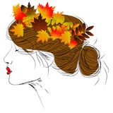 Vector girl with autumn leaves in long hair Stock Image