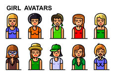 Vector girl avatars. Set of vector girl avatars with various styles Royalty Free Stock Images