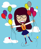 Vector Girl with Balloon in the sky Royalty Free Stock Photography