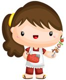 A vector of a girl with a barbeque stick. Vector of a girl with a barbeque stick royalty free illustration
