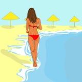 Vector girl on the beach Stock Photo