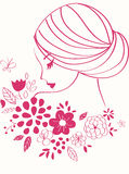 Vector girl. Beautiful female face with flowers stock illustration