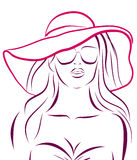 Vector girl in bikini and hat on a white Stock Images