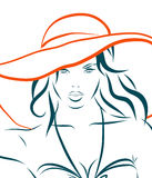 Vector girl in bikini and hat on a white Royalty Free Stock Photos