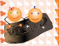 Vector girl and boy smiles writing on a computer. Two smiley girl and boy playing on the keyboard of a computer together. Vector drawing of two characters Royalty Free Stock Photography