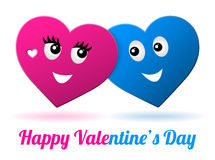 Vector girl and boy valentine heart Royalty Free Stock Images