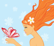 Vector girl with butterfly. Illustration royalty free illustration