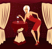 Vector girl with cocktail Royalty Free Stock Image