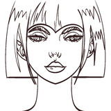 Vector girl cute face drawing.  eps 10 Stock Image