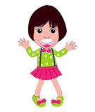 Vector Girl Cute happy and Funny. Illutation Royalty Free Stock Image