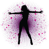 Vector girl dancing in night-club Stock Image