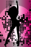 Vector girl dancing in night-club with flash Royalty Free Stock Photography