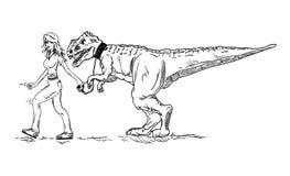 Vector - girl and dinosaur stock illustration