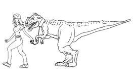 Vector - girl and dinosaur vector illustration